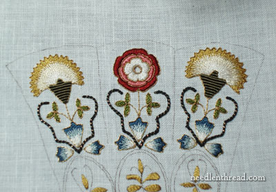 Floral Glove Needle Case embroidered in silk and gold