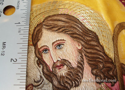 Hand Embroidered Face on Good Shepherd Vestment