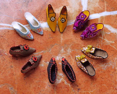 Miniature Embroidered Shoes by Patricia Richards