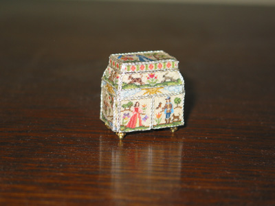 Miniature 17th Century Embroidered Casket by Patricia Richards