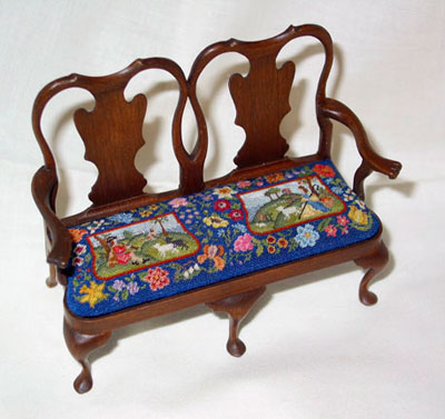 Miniature Settee with Cushion Stitched by Patricia Richards
