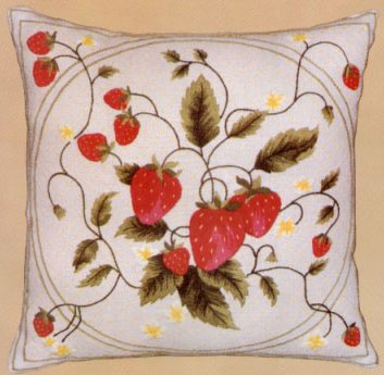 Strawberry Crewel Pillow
