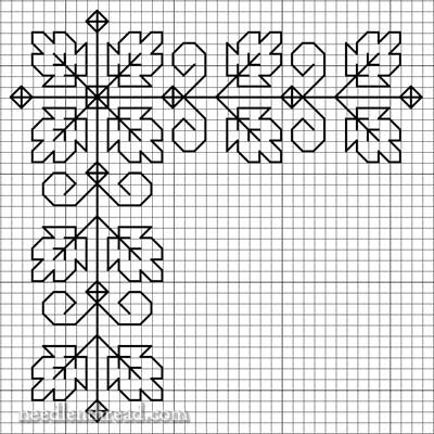 Free Blackwork Design: Autumn Leaves on a Corner