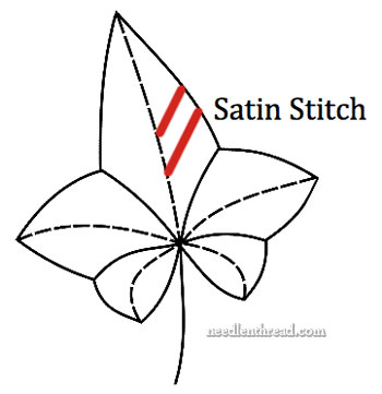 Satin Stitch Length on a Leaf