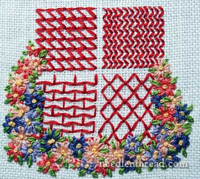Geometric filling patterns for hand embroidery