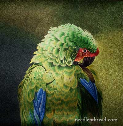 Hand Embroidered Green Parrot