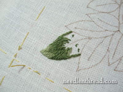 Wool Embroidery Project: Stitching on Pomegranate Corners