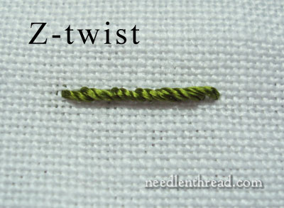 S-Twisted vs Z-Twisted Embroidery Threads, Stitched
