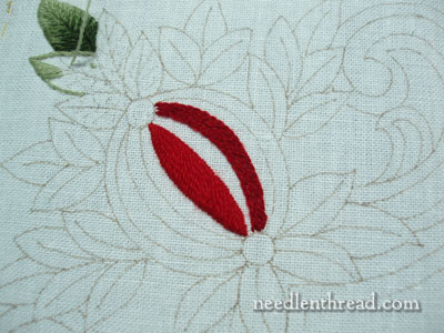 Wool Embroidery Project: Pomegranate Corners with satin stitch