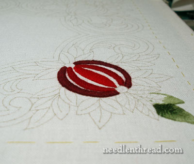 Wool Embroidery: Pomegranate Corners Design