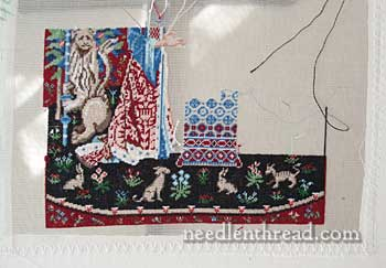 Miniature Stitching on Cluny tapestry embroidery project