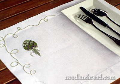 Embroidered Artichoke Table Linen