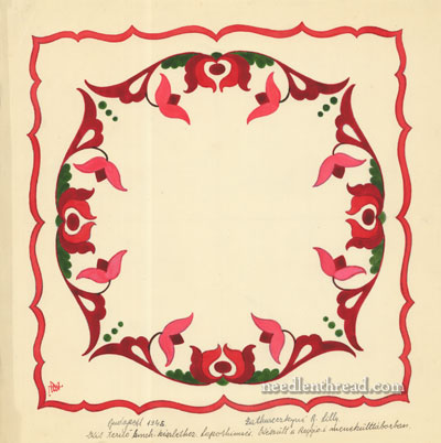 Hungarian Embroidery Design: Floral Square