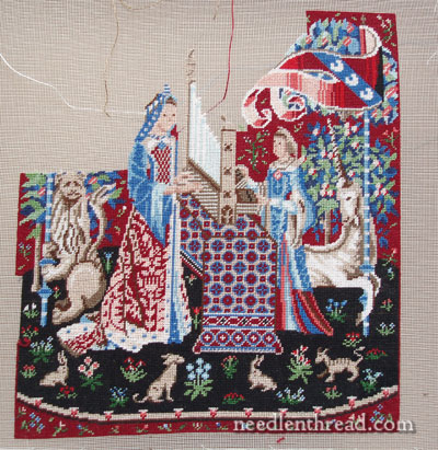 Miniature Stitching: Embroidered Lady & Unicorn tapestry