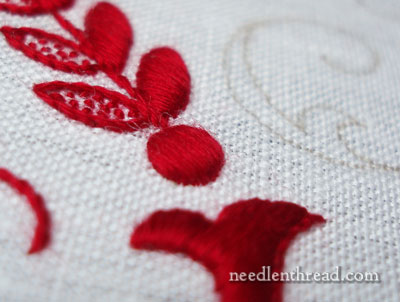 Hand Embroidered Monogram on Linen Towel