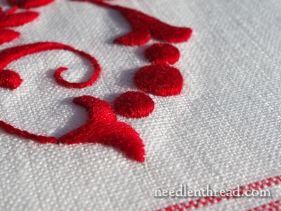 Hand Embroidered Monogram on Linen Glass Towel