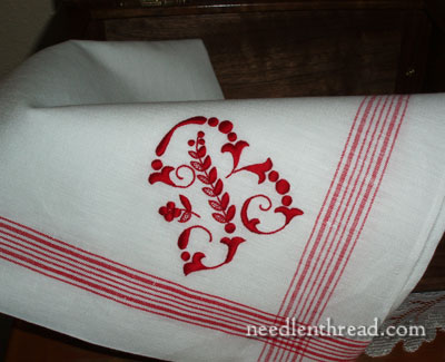 Floche on Monogrammed Linen Towel