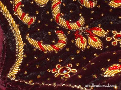 Goldwork on Velvet Remnant