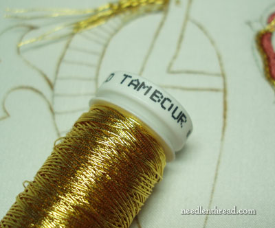 Basketweave with Gold Metal Threads
