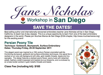 Jane Nicholas Stumpwork Classes, September, 2011, San Diego, CA