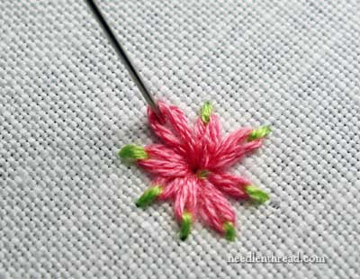 Daisy Stitch Flower with Two Colors