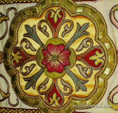 Hand Embroidered Church Medallion in Silk and Gold