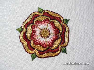 Tudor Rose in Silk and Gold Embroidery