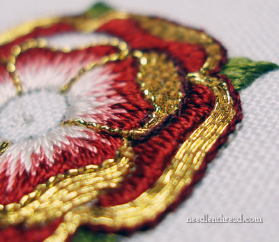Embroidered Tudor Rose in Silk Thread and Goldwork Embroidery