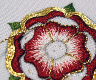 Goldwork & Silk Hand Embroidery: Tudor-style Rose