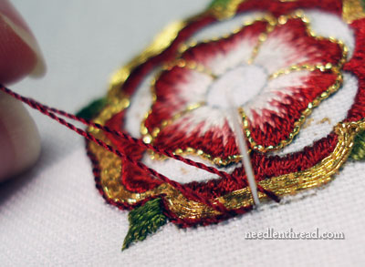 Goldwork & Silk Tudor-Style Rose: Outlining with Soie Gobelins