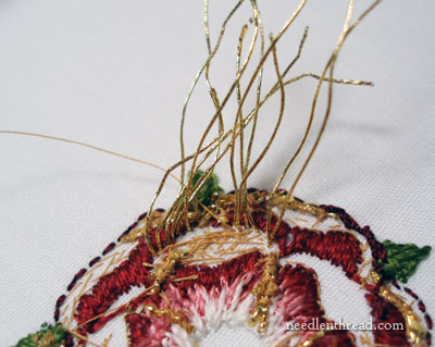 Goldwork & Silk Embroidered Tudor-Style Rose