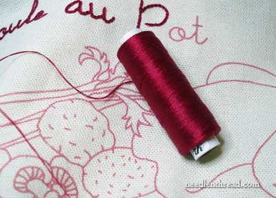 Rouge du Rhin Embroidered Redwork Kitchen Towel
