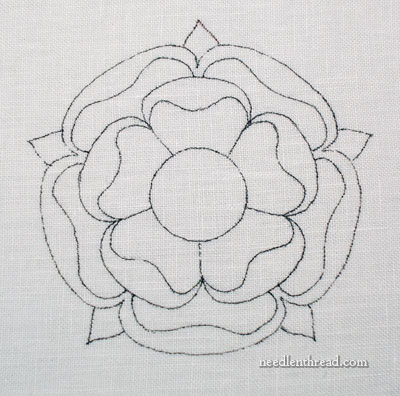 Large Hand Embroidered Tudor-Style Rose