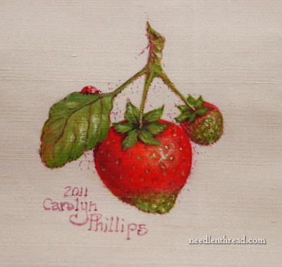 Strawberries painted on silk dupioni