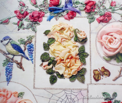 Roses in Silk & Organza Ribbon by Di van Niekerk