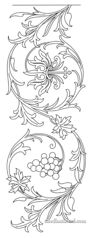 Free Hand Embroidery Pattern: Grape Border
