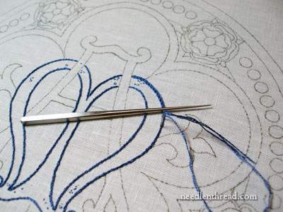 Marian Church Embroidery Progress: Stem Stitch Filling