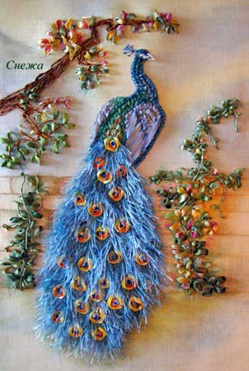Peacock in Ribbon Embroidery