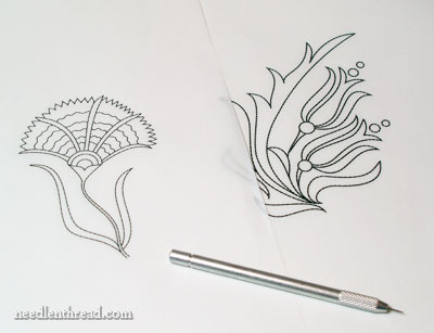 Hand Embroidery Design Transfers for Satin Stitch Projects
