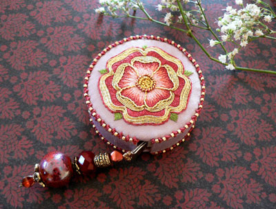 Goldwork & Silk Tudor-style Rose Tape Measure Cover