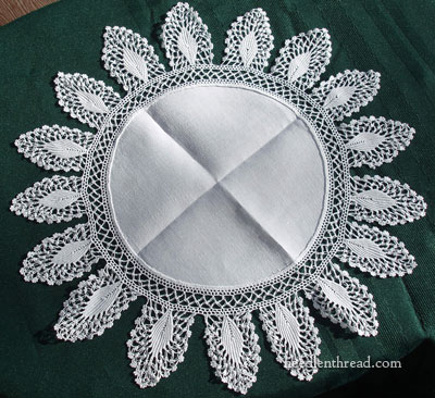 Antique Linen Doily with Crocheted Lace