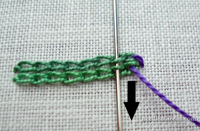 Whipping Two Rows of Chain Stitch