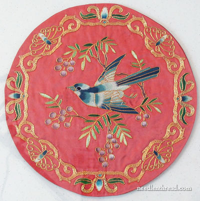 Chinese Silk and Gold Embroidery - Bluebird