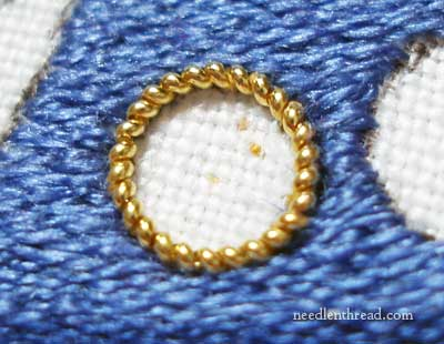 Goldwork Dots on Silk Background