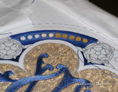 Goldwork Embroidery: Filled Dots with Chips of Check Purl