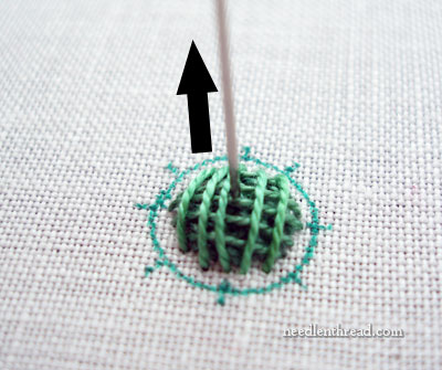 Raised Spider Daisy Hand Embroidery Stitch