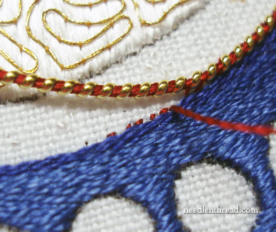 Goldwork Embroidery: Stretched Pearl Purl