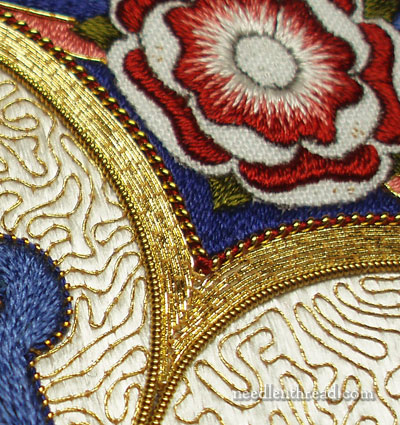 Goldwork Embroidery: Filling Sharp Corners