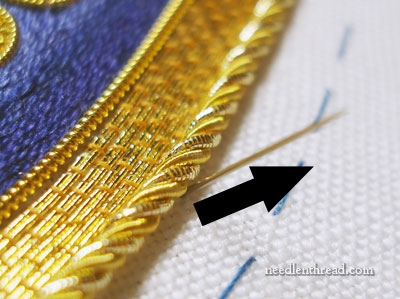 Attaching Grecian Twist Goldwork Thread