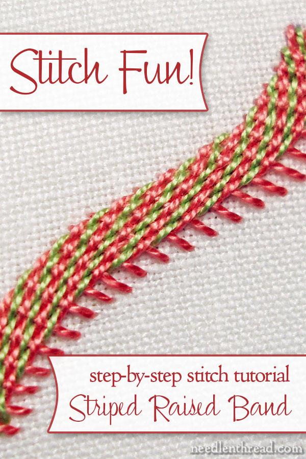 Diagonally Striped Raised Band Stitch